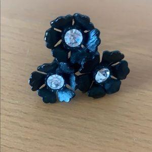 Jcrew black floral diamond ring